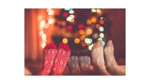 Winter fuzzy socks and Hallmark Christmas socks